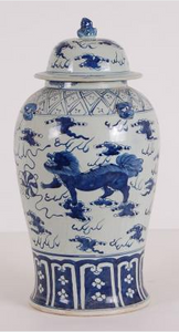 Blue & White Foo Dog Ginger Jar