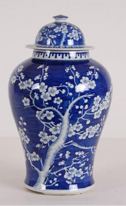 Blue & White Hawthorne Pattern Ginger Jar