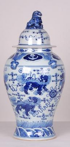 Blue & White Foo Lion Ginger Jar