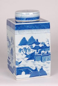 Blue & White Square Tea Tin