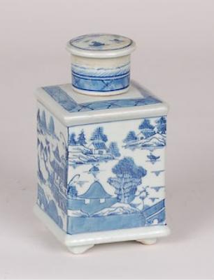 Blue & White Square Canton Tea Tin