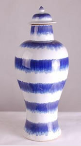 Blue & White Splashed Ginger Jar