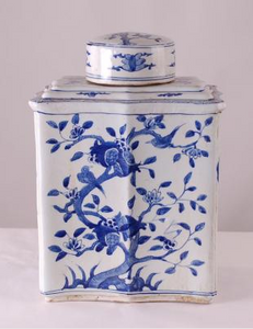 Blue & White Rectangle Tea Tin Jar