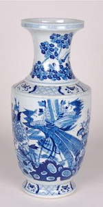 Blue & White Tall Bird Flower Vase