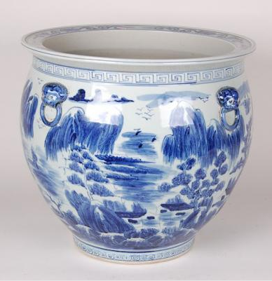 Blue & White Canton Fish Bowl