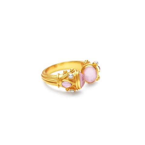 Byzantine Ring | Iridescent Rose w/ Pearl