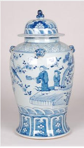 Blue & White Foo Dog Lidded Jar