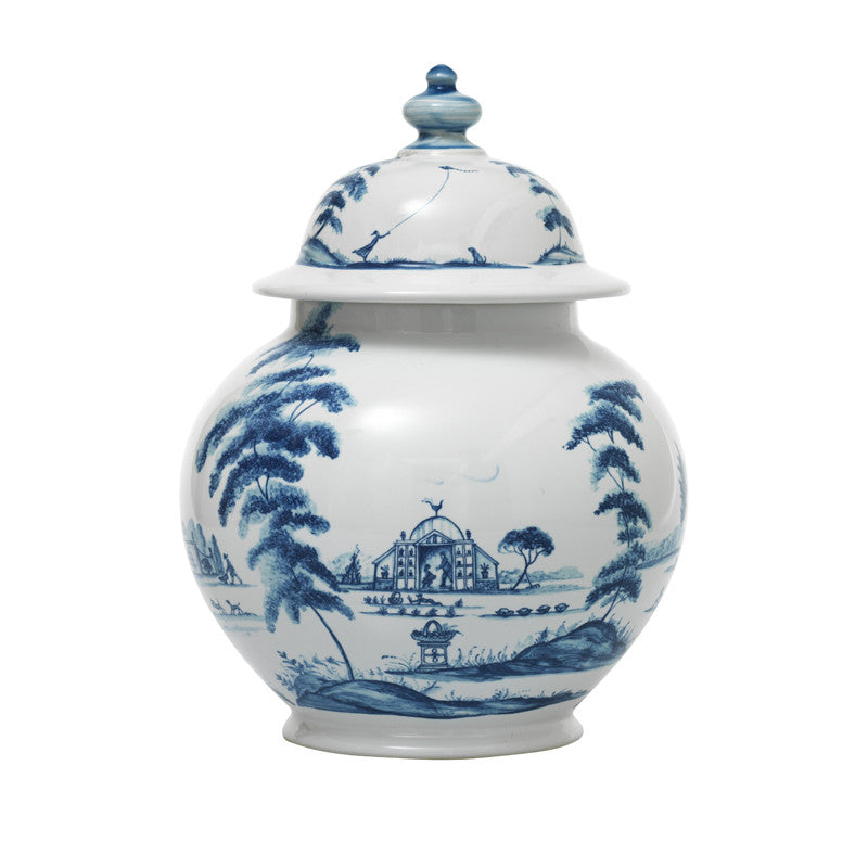 "Country Estate Delft Blue 10"" Lidded Ginger Jar"