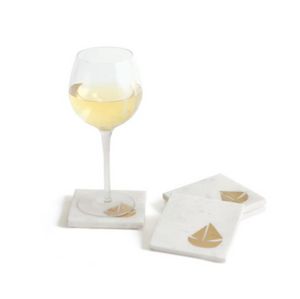 Schooner's Brass Inlay Coasters Set/4