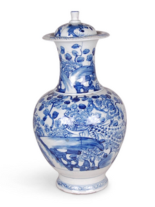 BLUE & WHITE BIRD AND FLOWER JAR