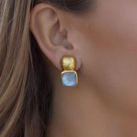 Catalina Earring | Iridescent Chalcedony Blue