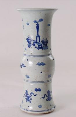 Blue & White Beaker Treasure Vase