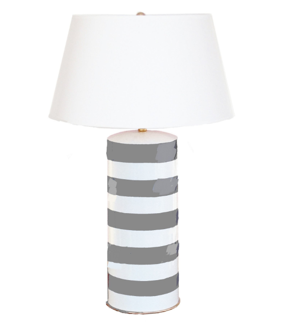 Stripe Stacked Lamp | Grey/White