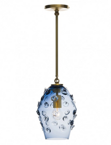 Florence Smoke Blue Diamond Pendant | Brass or Nickel