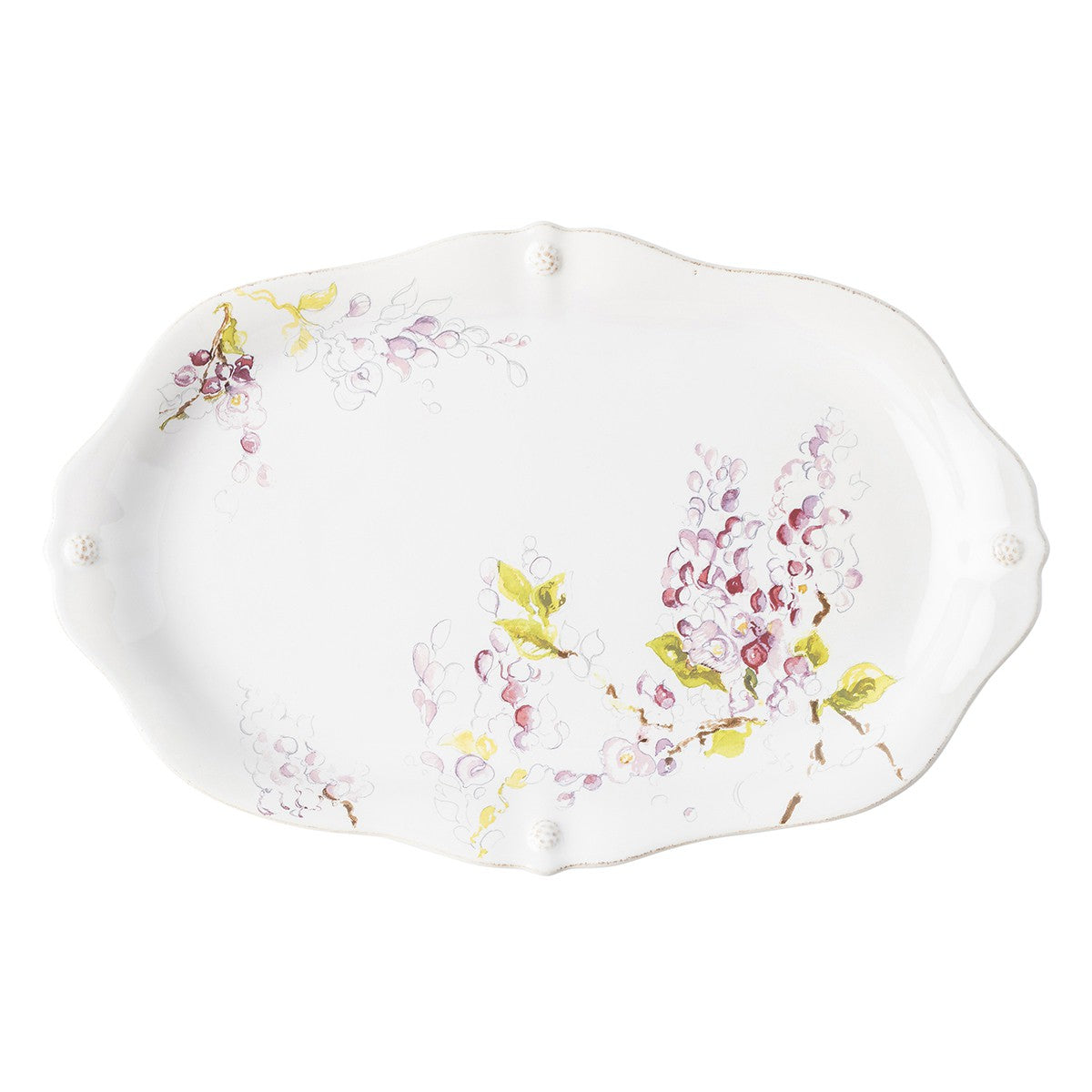 "Berry & Thread Floral Sketch Wisteria 16"" Platter"