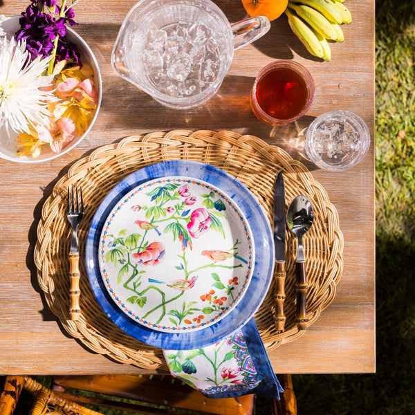 Splatter and Spin Melamine Indigo Dinner Plate