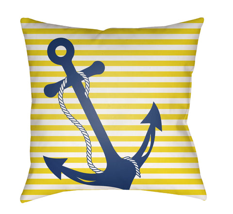 Anchor Pillow Indoor/Outdoor | Yellow Stripe