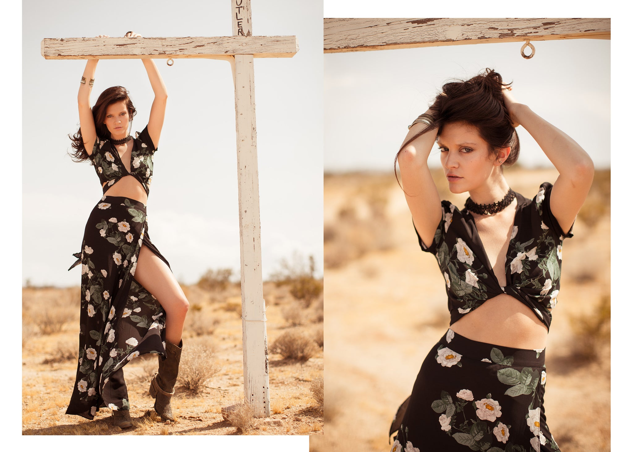 Hapa Clothing- Gypsy flower skirt and crop top in desert