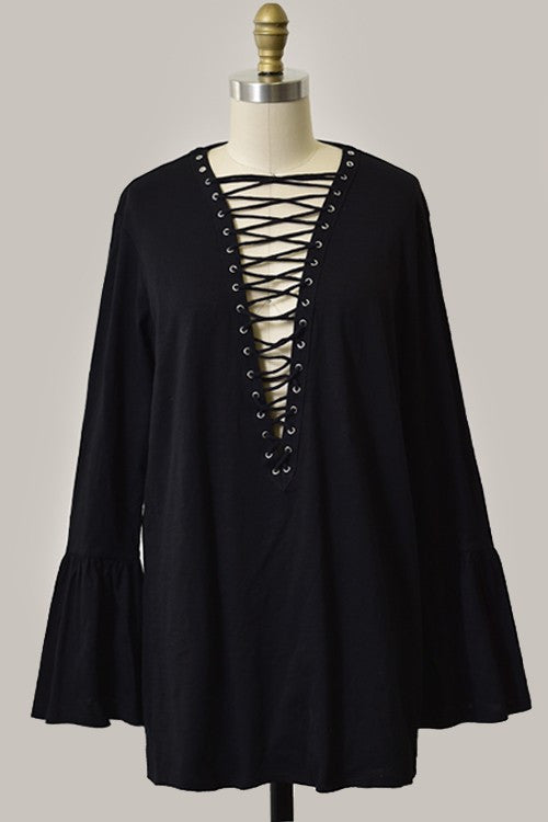 Billy Long Sleeve Lace Up Tunic - Black - Hapa Clothing
