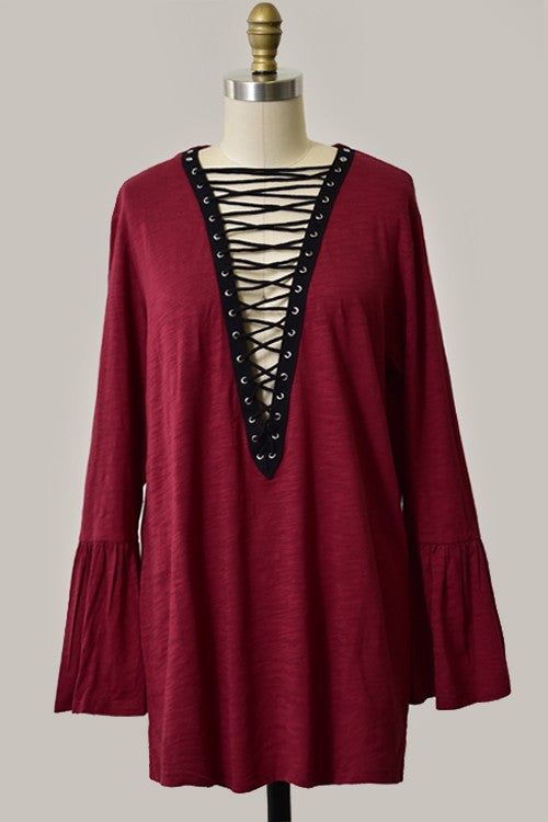 Billy Long Sleeve Lace Up Tunic - Burgundy
