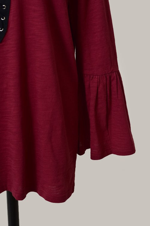 Billy Long Sleeve Lace Up Tunic - Burgundy - Hapa Clothing