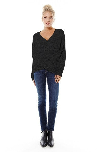Naomi Drape Front Sweater - Black - Hapa Clothing - 1
