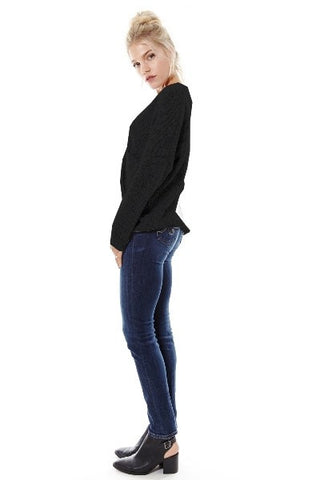 Naomi Drape Front Sweater - Black - Hapa Clothing - 2