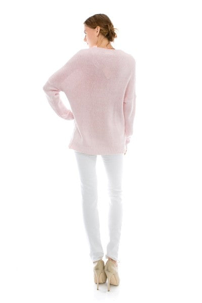 Naomi Drape Front Sweater - Heather Pink - Hapa Clothing - 2
