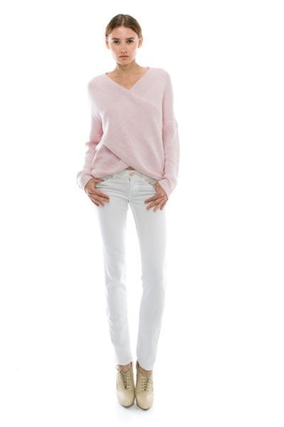Naomi Drape Front Sweater - Heather Pink - Hapa Clothing - 1