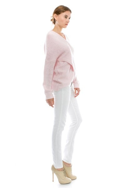 Naomi Drape Front Sweater - Heather Pink - Hapa Clothing - 3