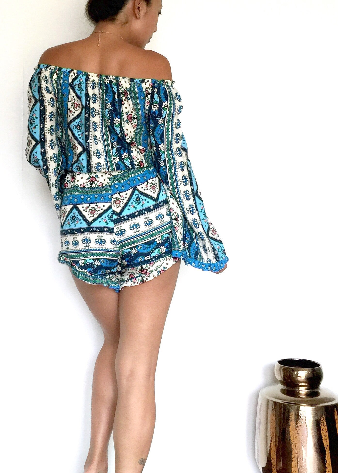 Kensie Boho Off Shoulder Playsuit- Blue - Hapa Clothing