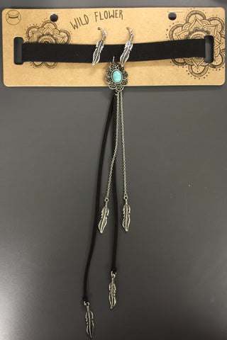 Suede and Silver Leaf Tassel Choker - Hapa Clothing