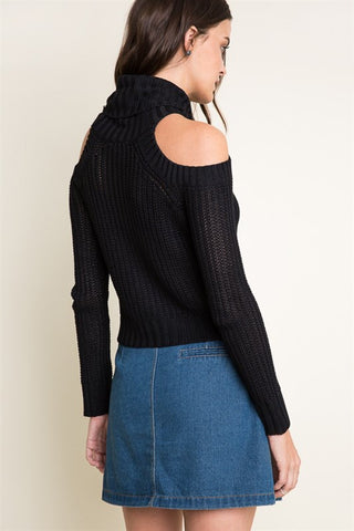 Cold Shoulder Turtle Neck Sweater-Black - Hapa Clothing