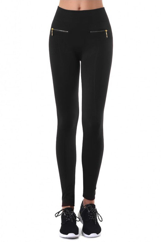 Gia Solid Fleece Leggings with Zipper Detail - Black - Hapa Clothing