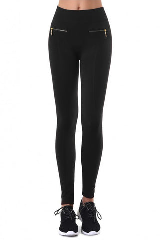 Gia Solid Fleece Leggings with Zipper Detail - Black - Hapa Clothing - 1