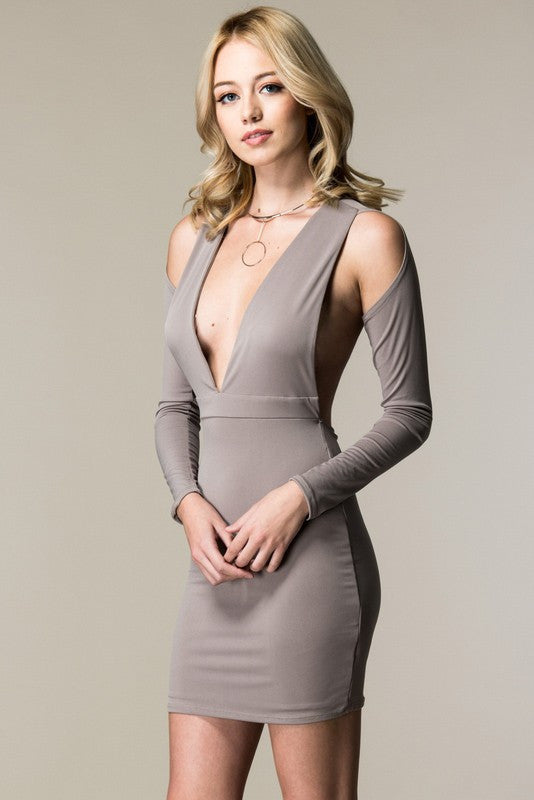 Deidra Backless Bodycon Dress - Taupe