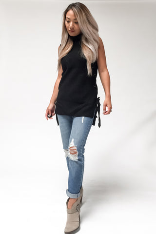 Becca Sleeveless Turtleneck-Black - Hapa Clothing - 1