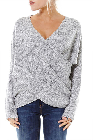 Naomi Drape Front Sweater - Heather Gray - Hapa Clothing