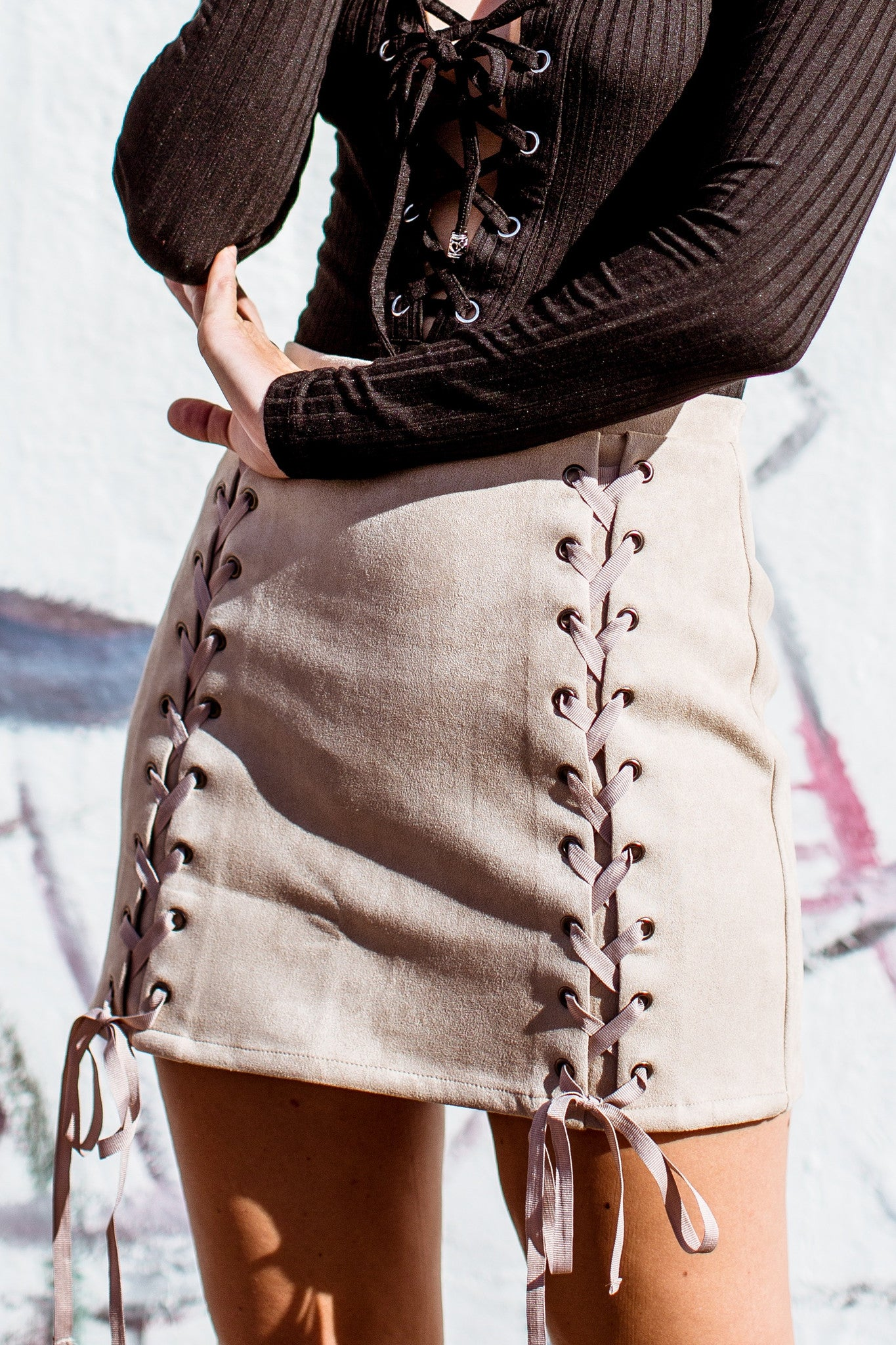 Faux Suede Lace Up Skirt-Tan - Hapa Clothing - 2