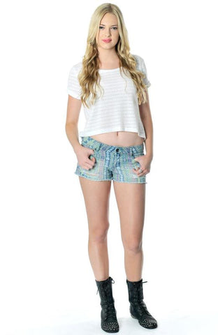 Aztec Distressed Cutoff Shorts - Hapa Clothing