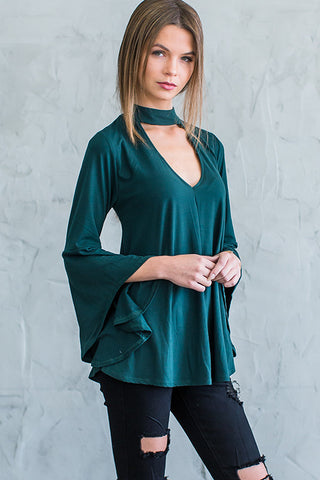 Blaire Bell Sleeve Choker Top - Forest green - Hapa Clothing