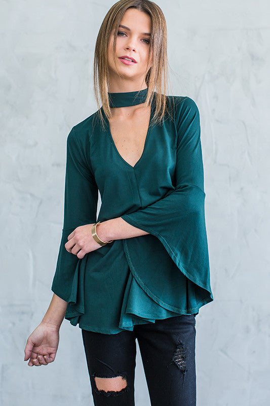 Blaire Bell Sleeve Choker Top - Forest green - Hapa Clothing - 1