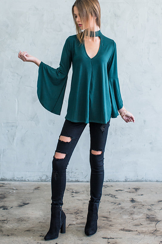 Blaire Bell Sleeve Choker Top - Forest green - Hapa Clothing - 4