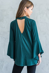 Blaire Bell Sleeve Choker Top - Forest green - Hapa Clothing - 3