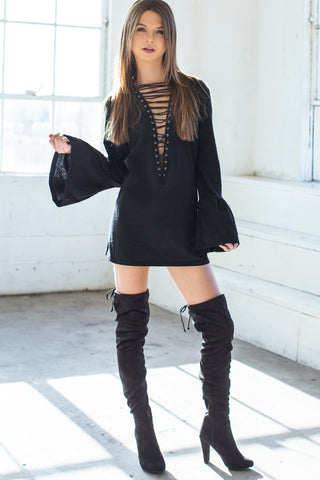 Billy Long Sleeve Lace Up Tunic - White