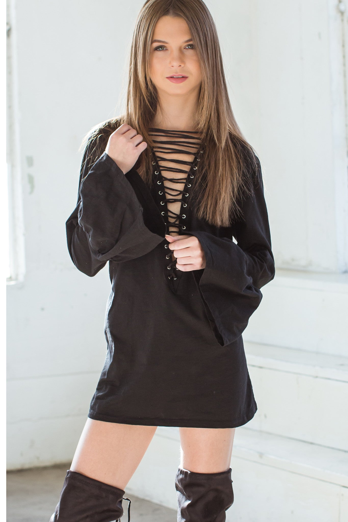 Billy Long Sleeve Lace Up Tunic - Black