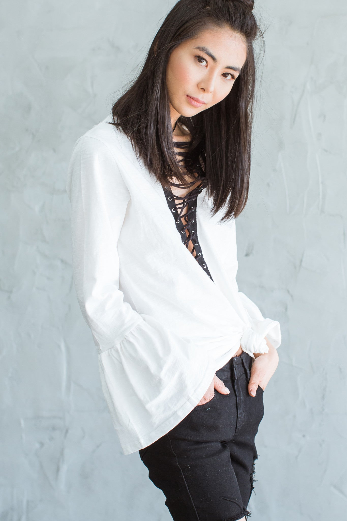 Billy Long Sleeve Lace Up Tunic - White - Hapa Clothing