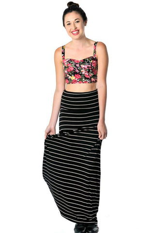 Black and Nude Stripped Maxi Skirt - Hapa Clothing