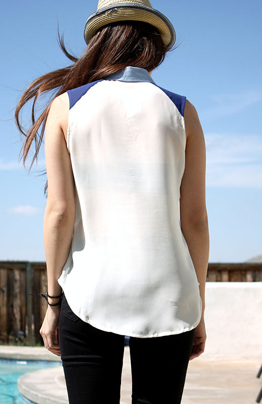 Jean Collar Button Up Tank Top - Hapa Clothing