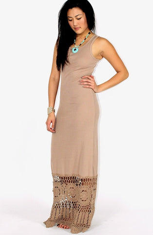 Clara Crochet Bottom Maxi Dress - Brown - Hapa Clothing